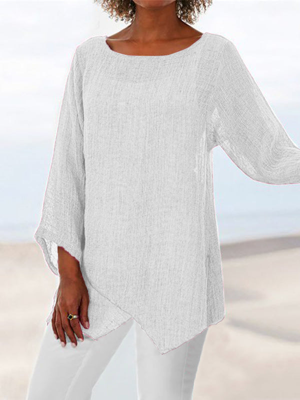 Plus Size Asymmetric Linen Women Tunic Blouses