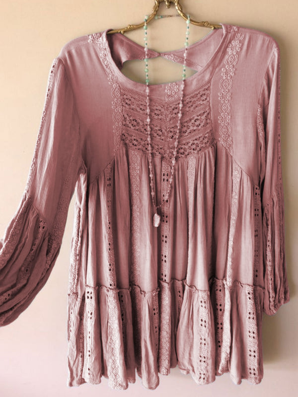 Cotton-Blend Crew Neck Ruffled Long Sleeve Shirts & Tops