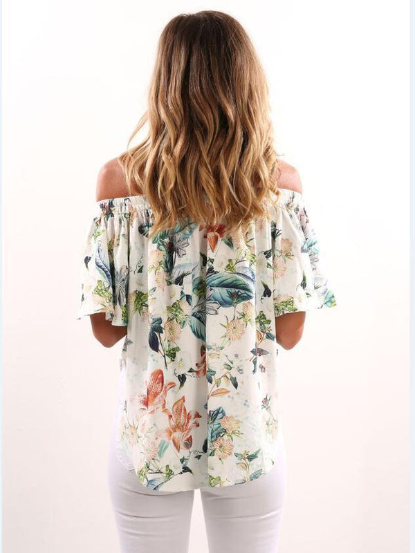 White One Shoulder Holiday Blouses