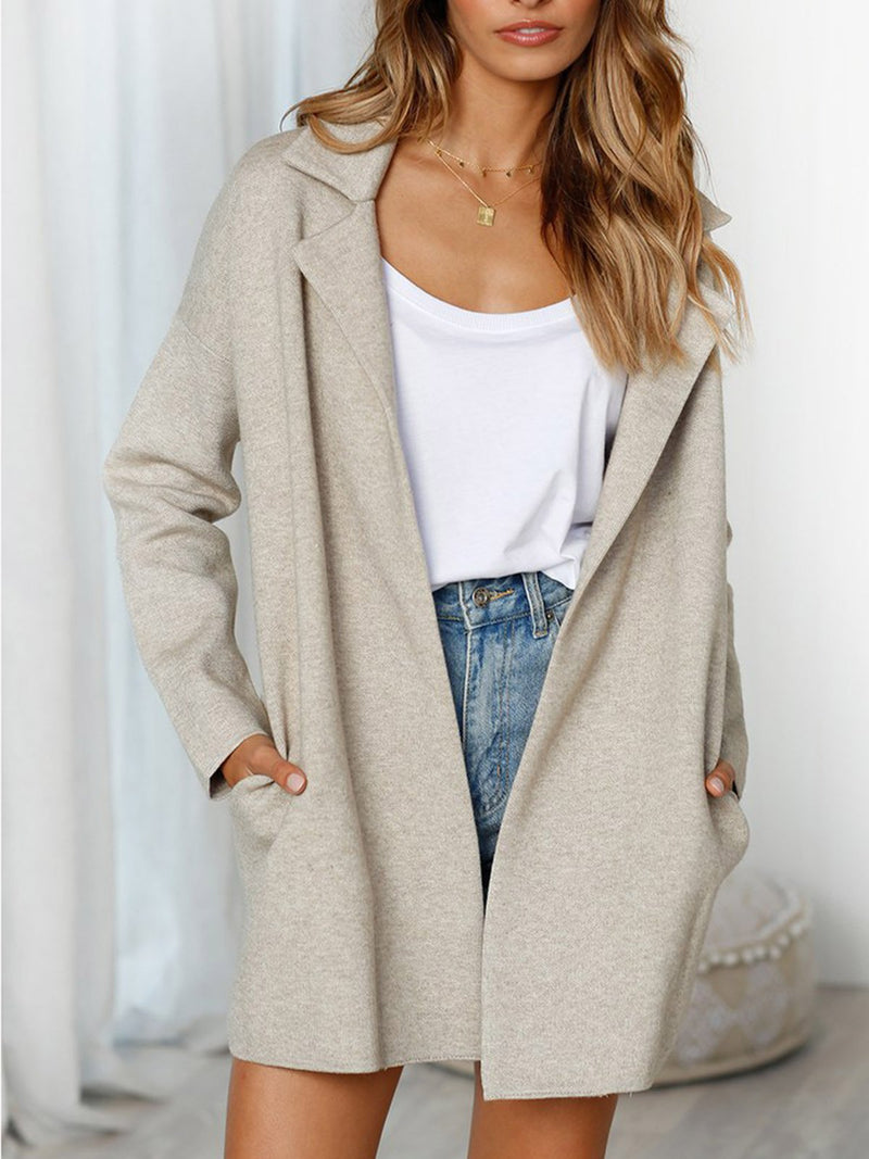 Women's Fluffy Outerwear Pockets Shawl Collar Warm Coats