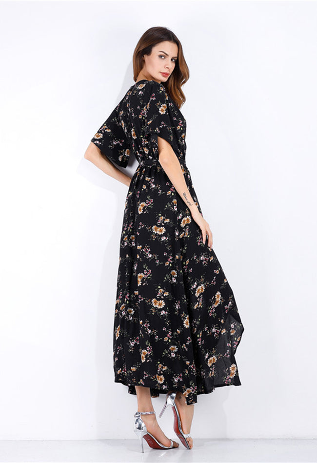 Allamela Floral V-Neck Split Hem Chiffon Dress