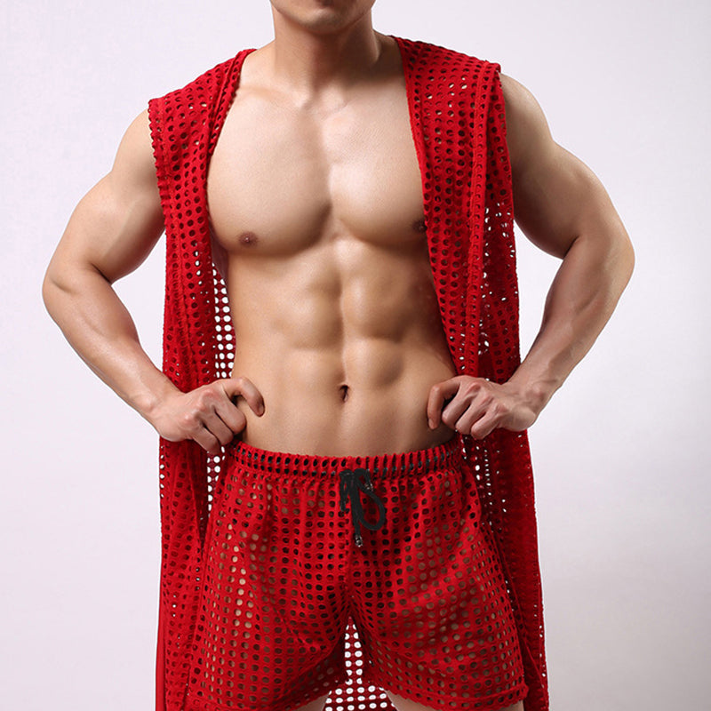 Men's Sexy Mesh Openwork Bathrobe Fashion Sleeveless Hooded Robe