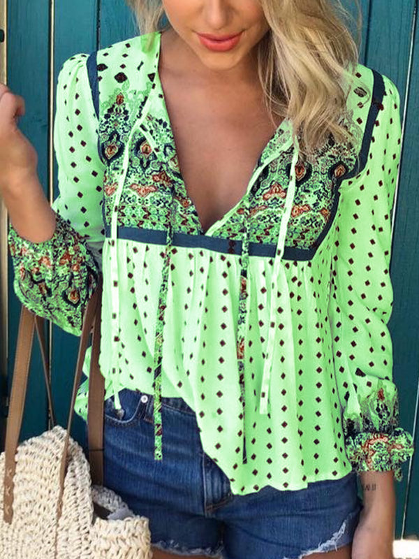 Floral-Print V Neck Long Sleeve Holiday Blouses