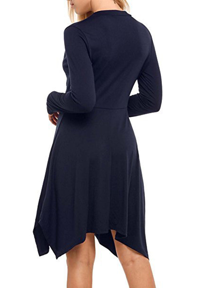 Asymmetric Solid V-Neck Long Sleeve Dress