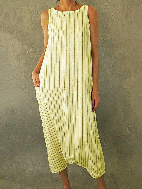 Striped Printed Pockets Maxi Dresses