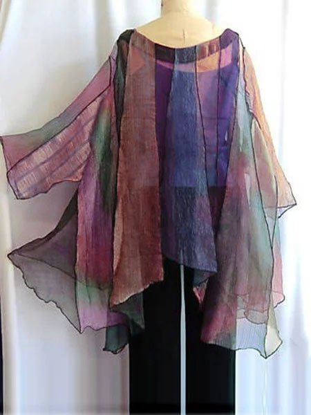 Women Purple Round Neck Casual Ombre/tie-Dye Shirts & Tops