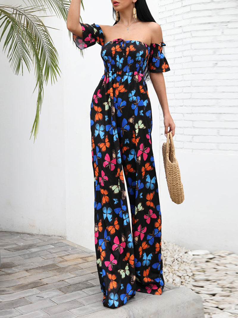 Butterfly Print Maxi Floral Beach Off Shoulder Jumpsuits