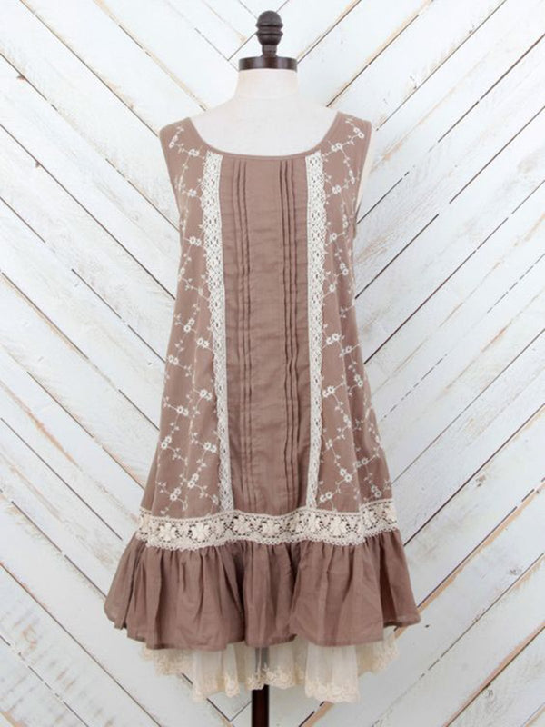 Women Coffee Sleeveless Lace Patchwork Dresses