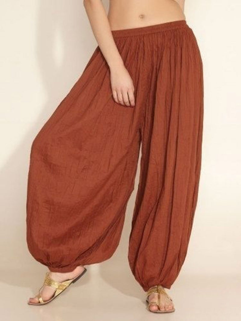 Women Girls Paneled Solid Cotton Acrylic Plain Natural Pants