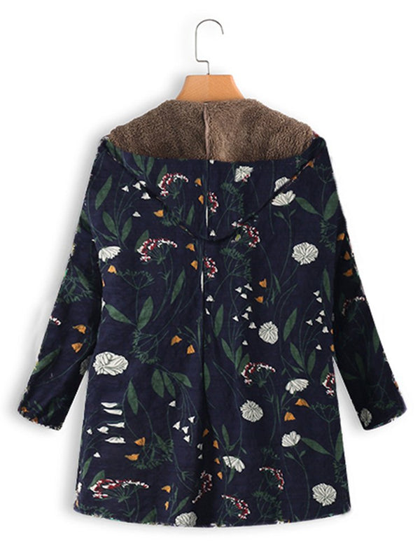 『Clearance Sale』Floral Printed Fleece-Lined Casual Hoodie Plus Size Coats