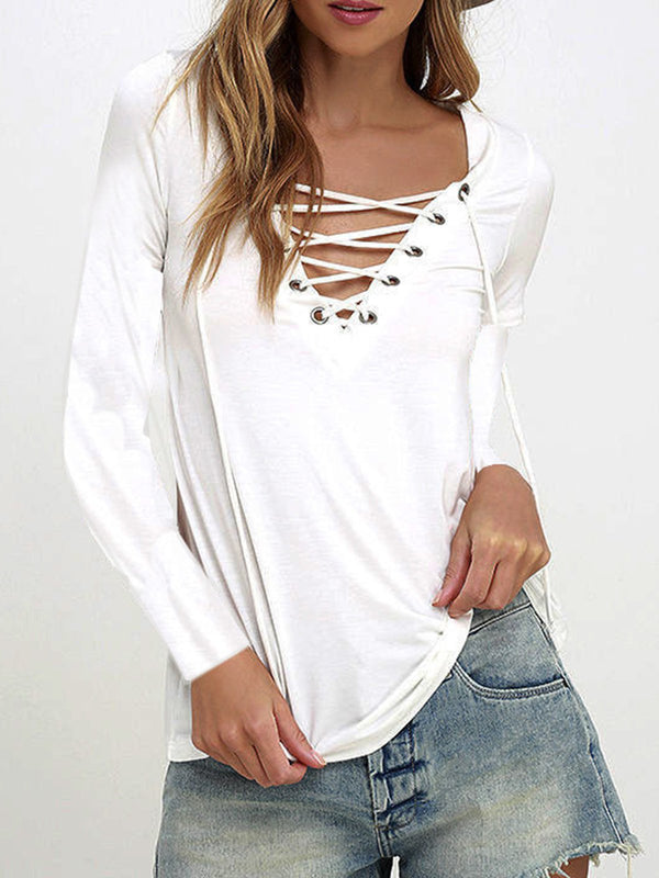 Lace-Up Solid Simple Long Sleeve V Neck T-Shirt