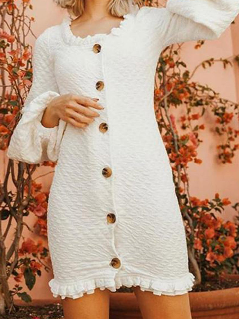 Crew Neck White Sweet Solid Dresses