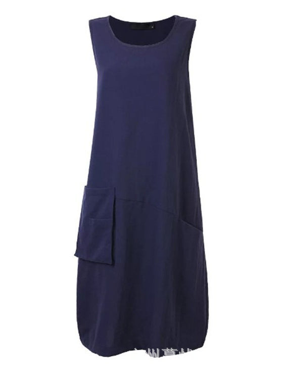 Women Round Neck Casual Sleeveless Cotton Dresses