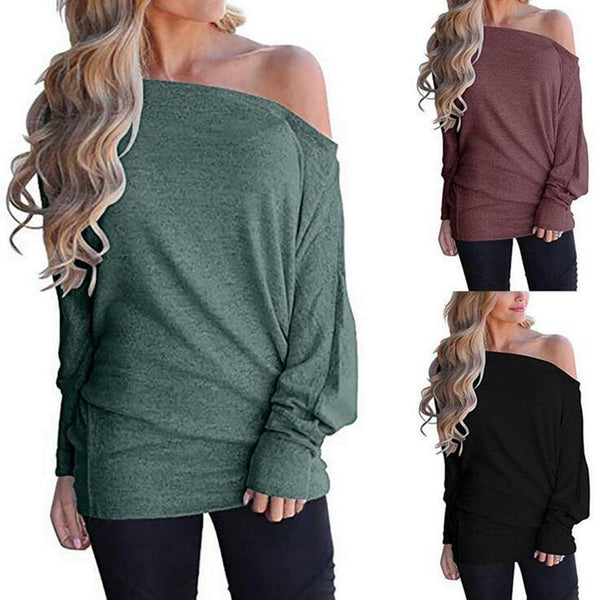 Solid Long Sleeve Bateau/boat Neck Tops