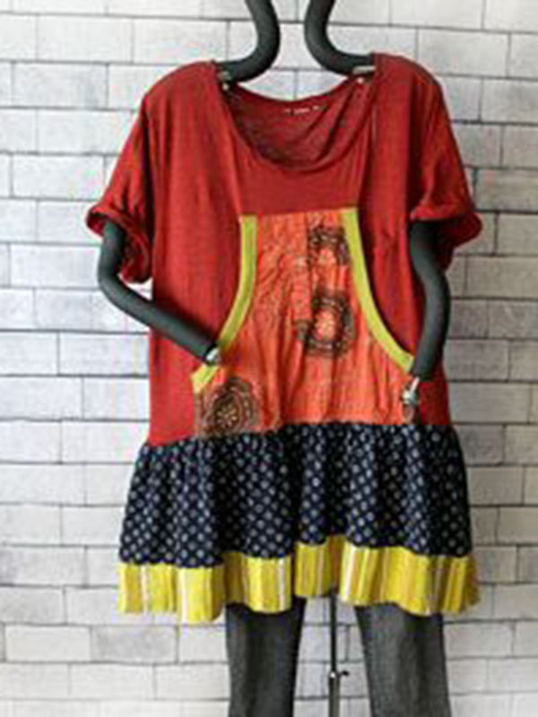Women Orange Red Patchwork Round Neck Short Sleeve Shirts & Tops