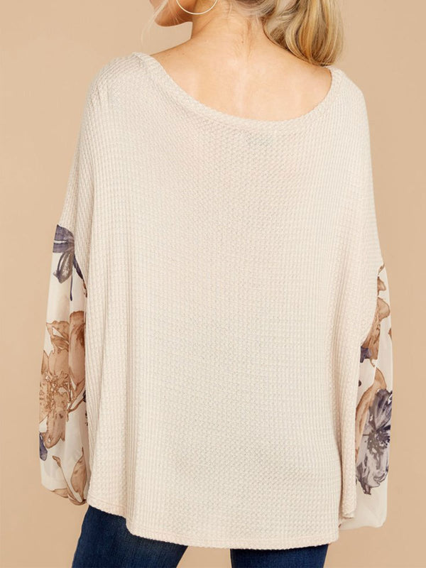 Floral Long Sleeve Round Neck T-Shirts