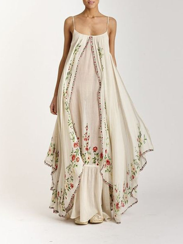Bohemian embroidered suspender dress