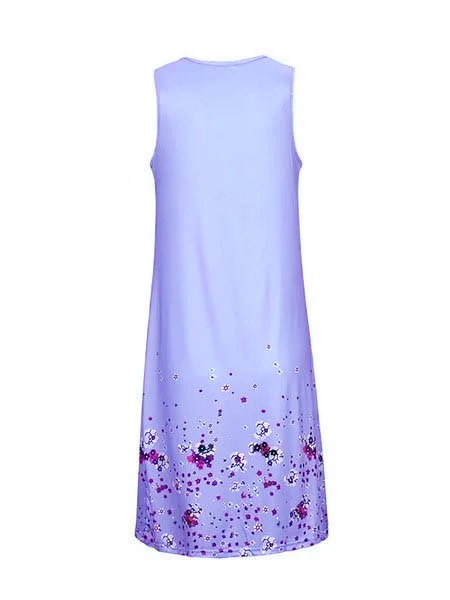 A-line Women Daytime Sleeveless Cotton-blend Painted Floral Floral Dress