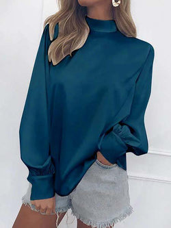 Chiffon Turtle Neck Solid Casual Blouse Pullover