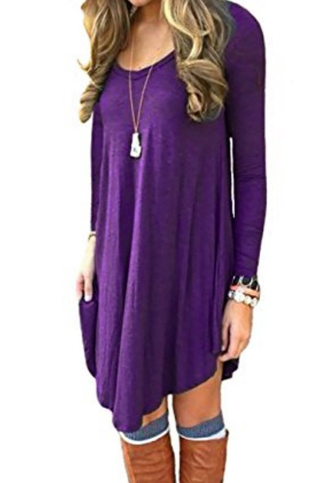 Allamela Asymmetric Solid Casual Long Sleeve Dress