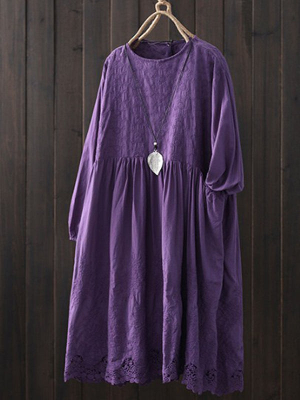 Women Vintage Long Sleeve Round Neck Dresses
