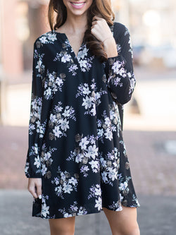 Daily Cotton Casual Long Sleeve Floral-print Swing Dress