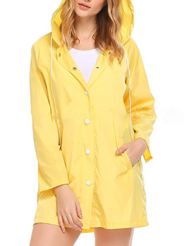 Long Sleeve Casual Buttoned Hoodie Trench Coats