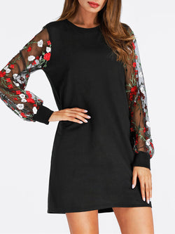 Black A-line Women Daily Casual Balloon Sleeve Floral Dress