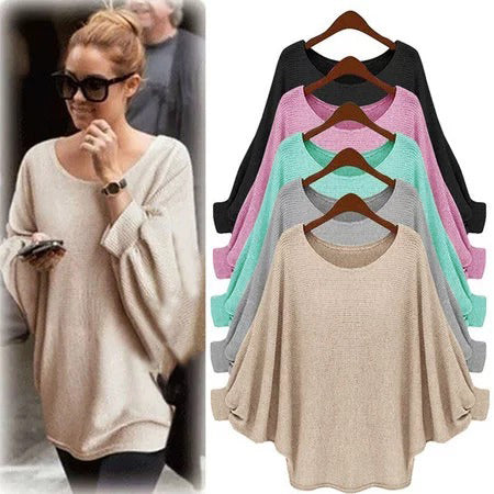 Batwing Acrylic Crew Neck Knitted Tops