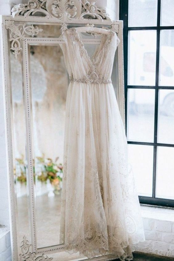 Lace retro party wedding dress