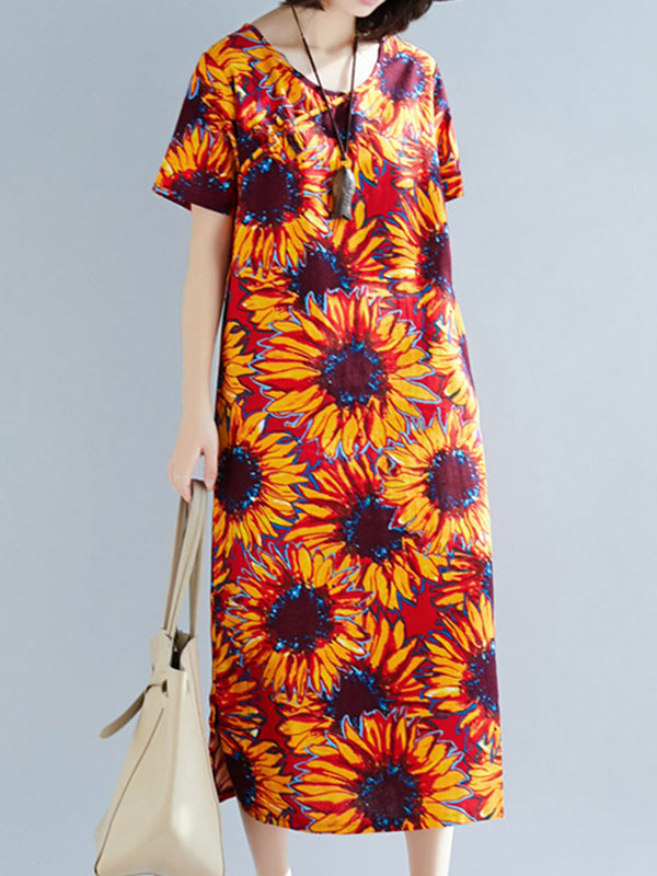 Crew Neck Women Casual Daily Cotton-Blend Floral-Print Dress