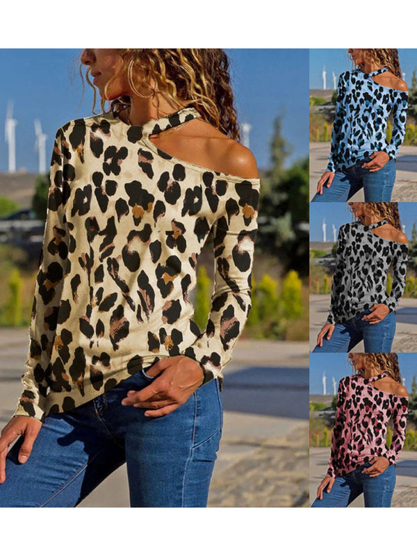 Plus Size Leopard Print One Shoulder Casual T-Shirt