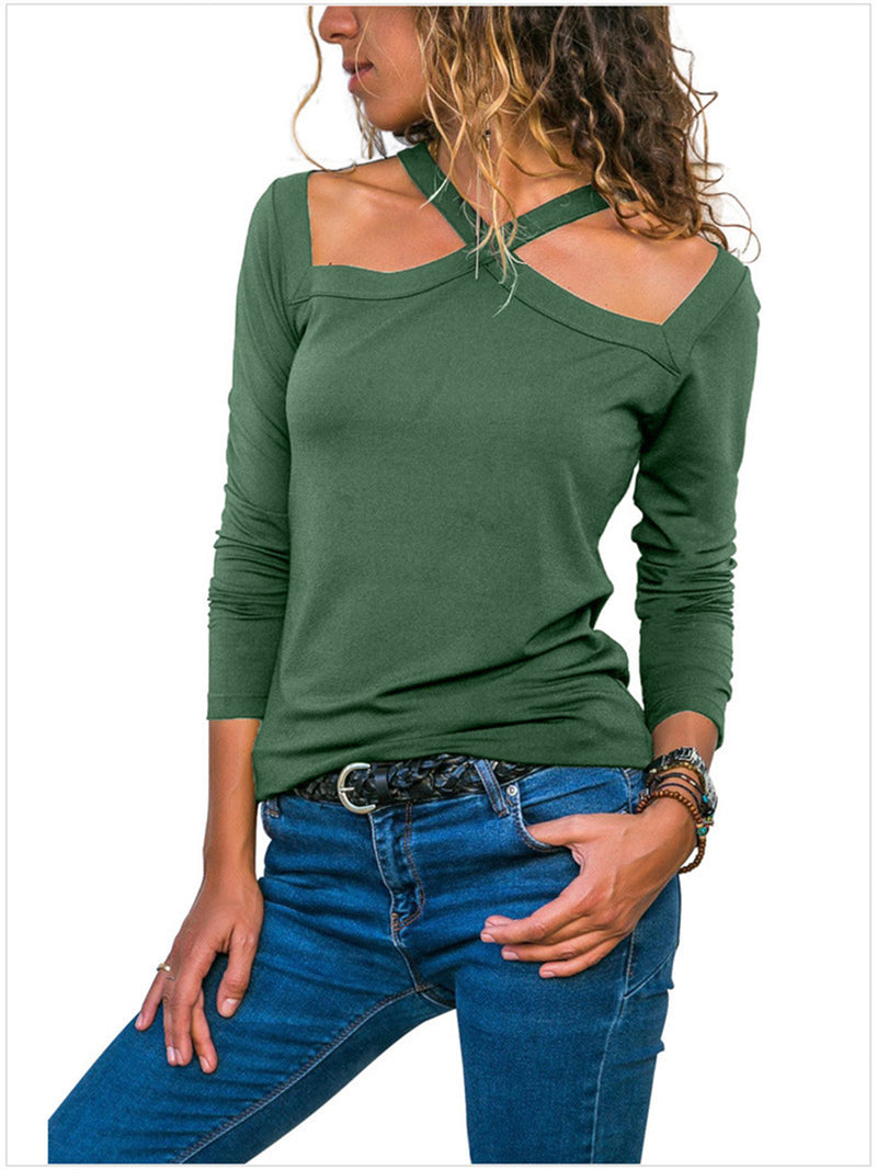 Tie-Neck Long Sleeve Paneled Cotton T-Shirt