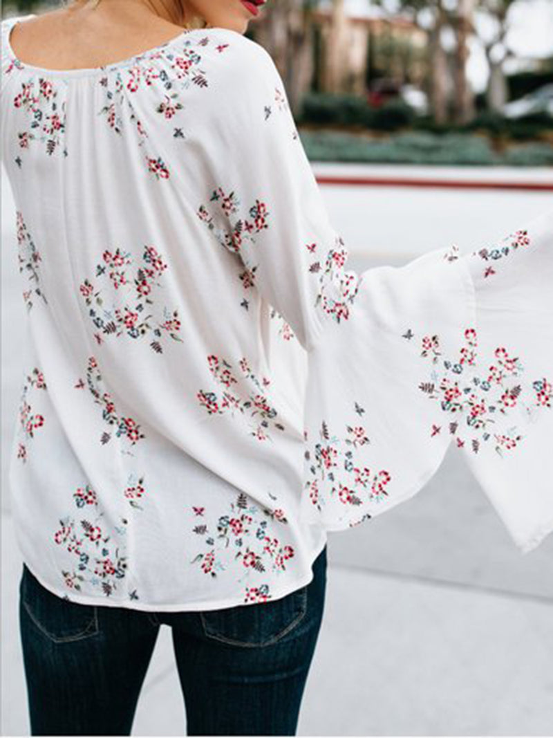 Long Bell Sleeve Printed Blouse