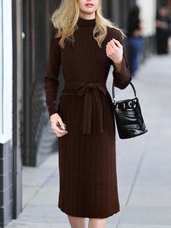 Long Sleeve Elegant Turtle Neck Solid Knitted Sweater Dress