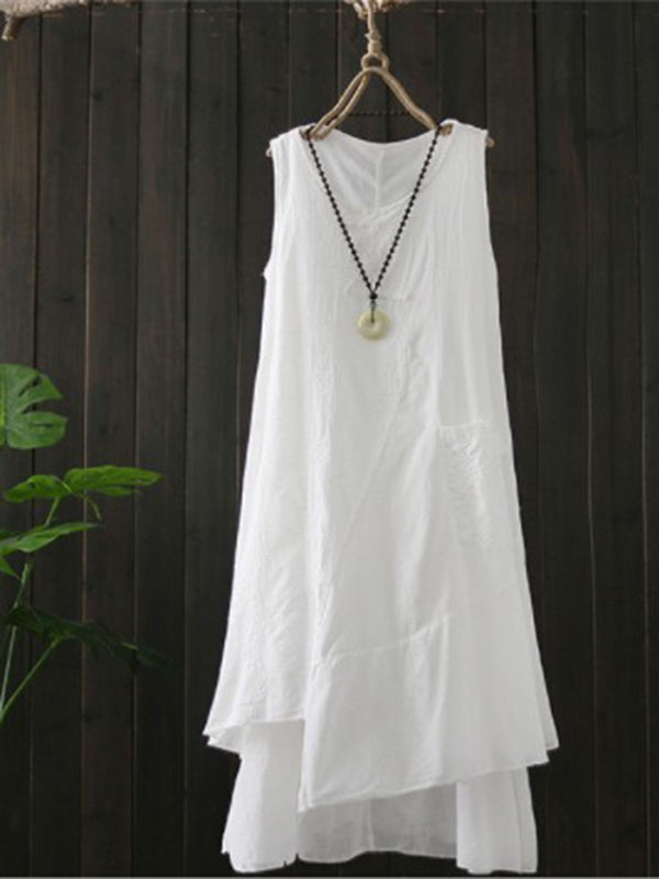 Women Cotton Casual Plain Sleeveless Dresses