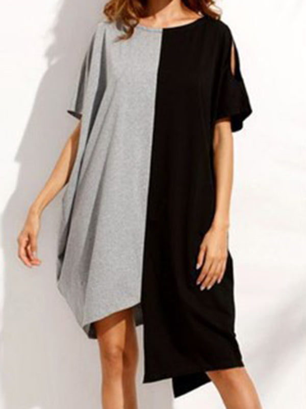 Women Irregular Patchwork Loose Short Sleeve Dress