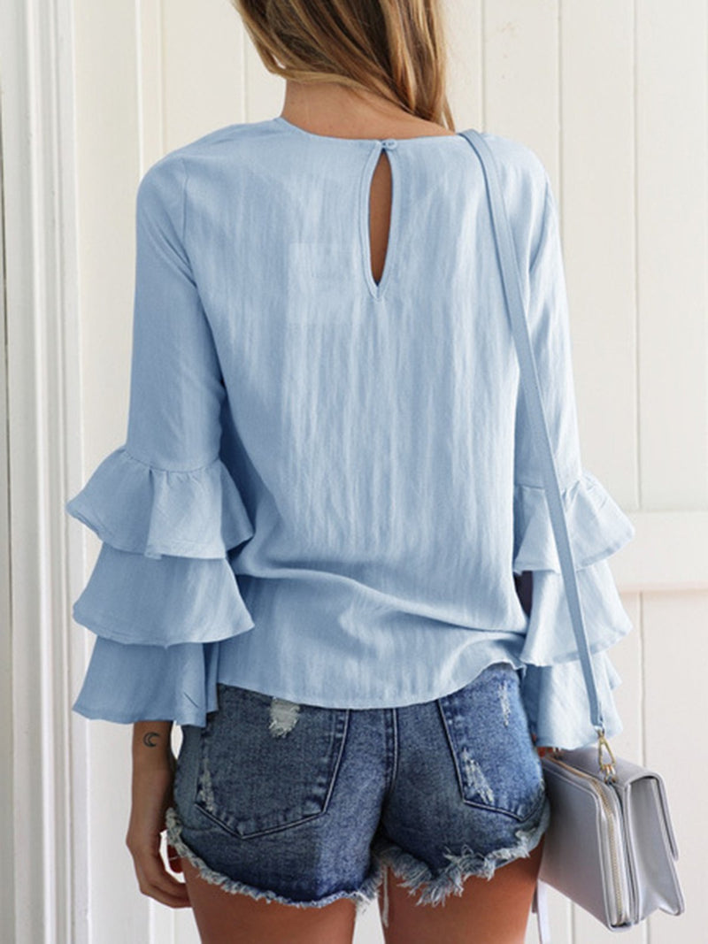Crew Neck Solid Tiered Long Sleeve Blouse