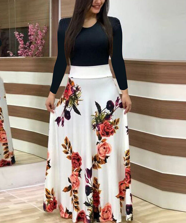 Soft Fit and Flare Floral Maxi Dress