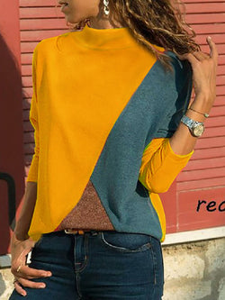Cotton-Blend Long Sleeve Geometric Color-Block T-Shirts
