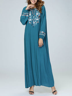 Embroidery Floral Loose Long Sleeve Maxi Dress