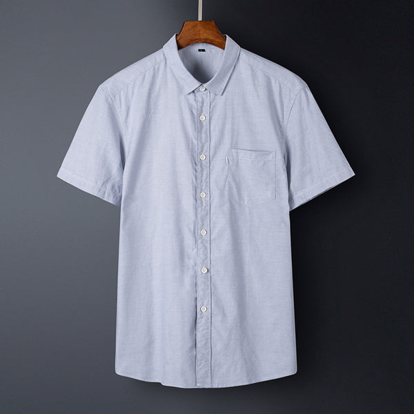 Men's Casual Oxford Shirt Breathable Cotton Short-sleeved Shirt
