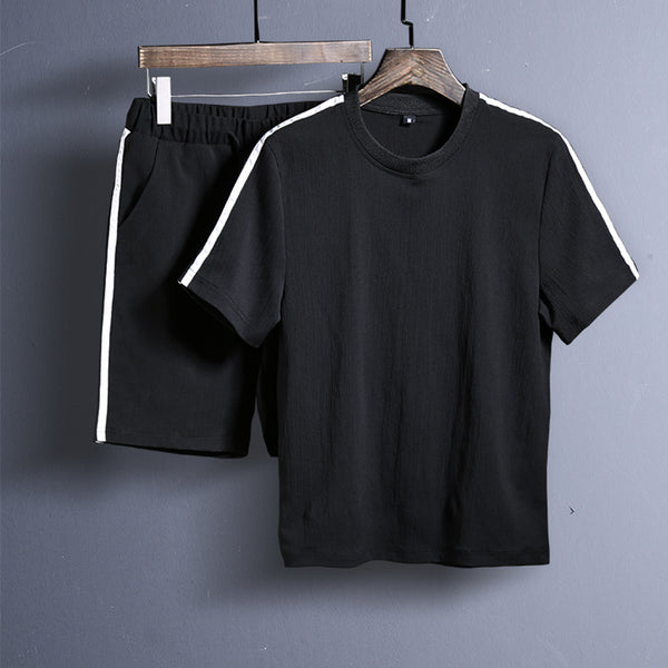 Men's Sports Pure Set Casual Round Neck Short-sleeved T-shirt Shorts Suit
