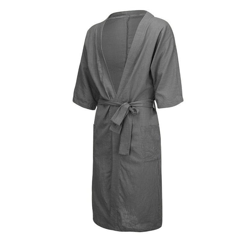 Unisex Long Solid Color Linen Cotton Pajamas Robe Bathrobe