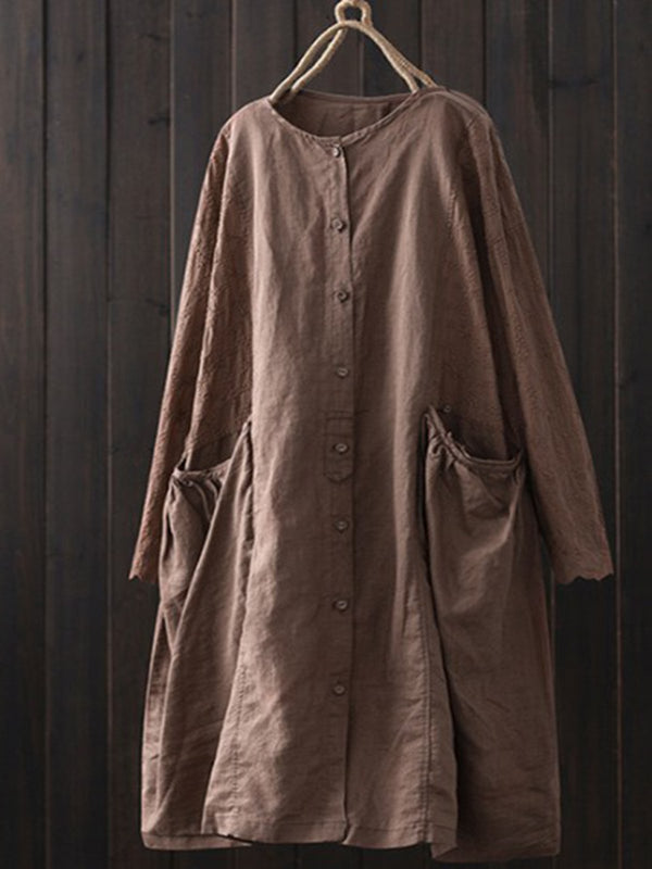 Women Plain Casual Long Sleeve Cotton Dresses