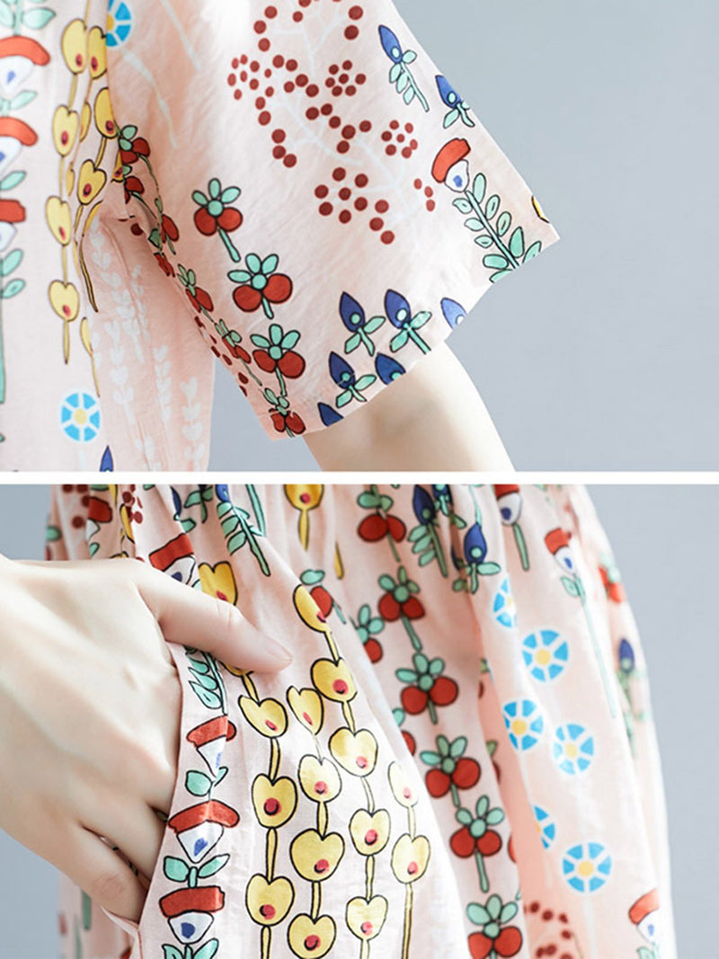 Crew Neck Shift Casual Floral-Print Dresses