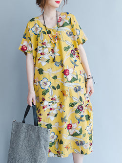 Yellow Casual Floral-Print Cotton Midi Dress
