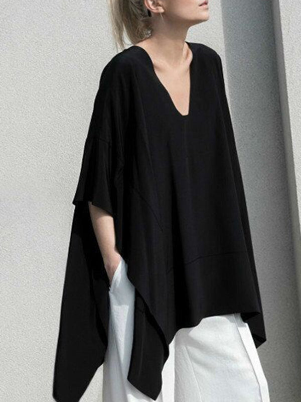 Black Solid Asymmetrical Batwing V-Neck Casual Plus Size Blouse