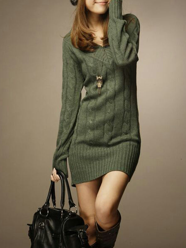 V neck Women Daily Casual Long Sleeve Cable Plain Dress