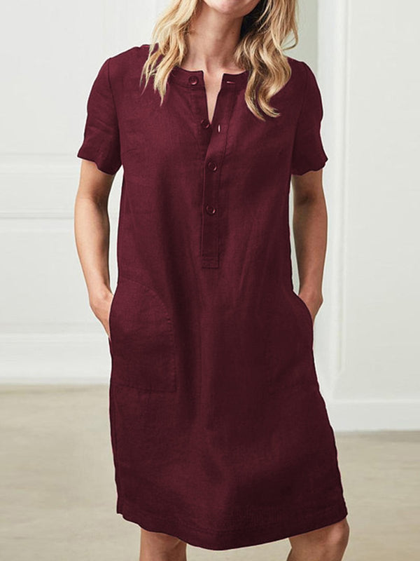 Plus Size Women Shift Daily Solid Buttoned Midi Dress